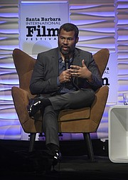2018 Santa Barbara International Film Festival  Outstanding Directors of the Year Award honoree Jordan Peele talks with moderator Scott Feinberg at the Arlington Theatre (Feb. 6, 2018) .
