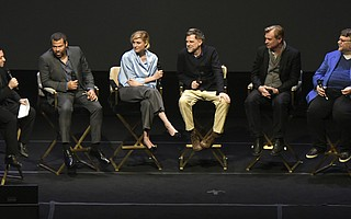L to R Moderator Scott Feinberg interviews Santa Barbara International Film Festival  2018 Outstanding Directors of the Year Award honorees Jordan Peele, Greta Gerwig, Paul Thomas Anderson, Christopher Nolan, and Guillermo del Toro at the Arlington Theatre (Feb. 6, 2018) .