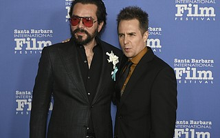 Santa Barbara International Film Festival Executive Director Roger Durling with 2018 Rivera Award honoree Sam Rockwell on the red carpet the Arlington Theatre. (Feb. 7, 2018)