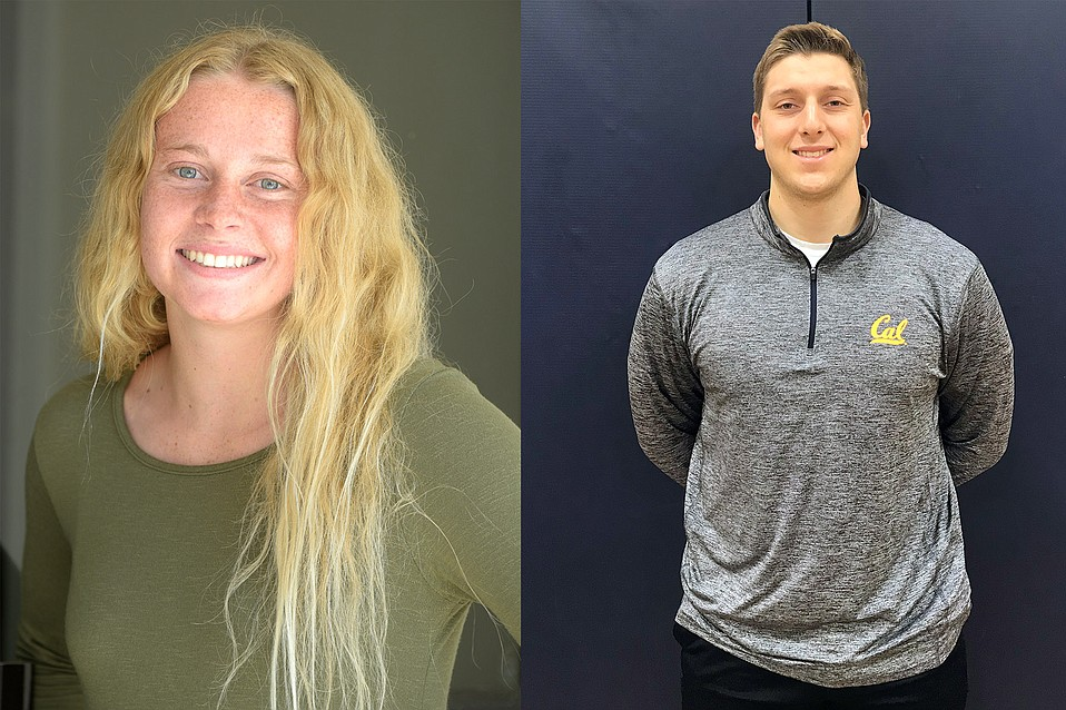 Olivia Kistler, Dos Pueblos water polo (left); Erick Nisich, Dos Pueblos wrestling (right)