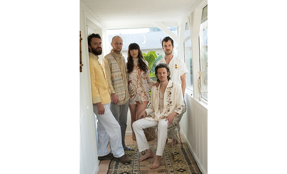 L-R: Justin Flint, Alex Siegel, Love Femme, Shane McKillop, and Omar Velasco combine to form the funk-rock group Amo Amo.