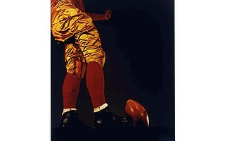 "Harold Edgerton's ""Football Kick"" (1938) on display in SBMA's exhibit <em>Brought to Light.</em>"