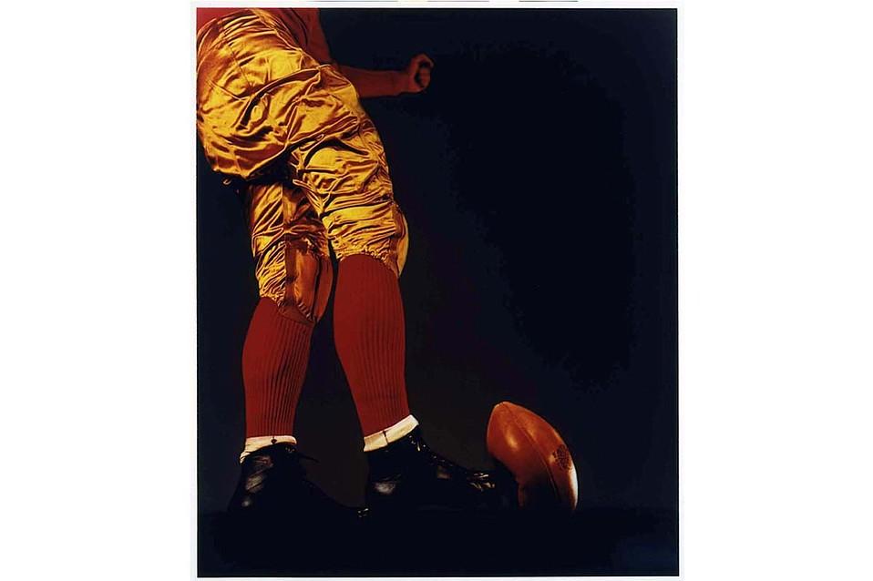 "Harold Edgerton's ""Football Kick"" (1938) on display in SBMA's exhibit <em>Brought to Light.</em>"