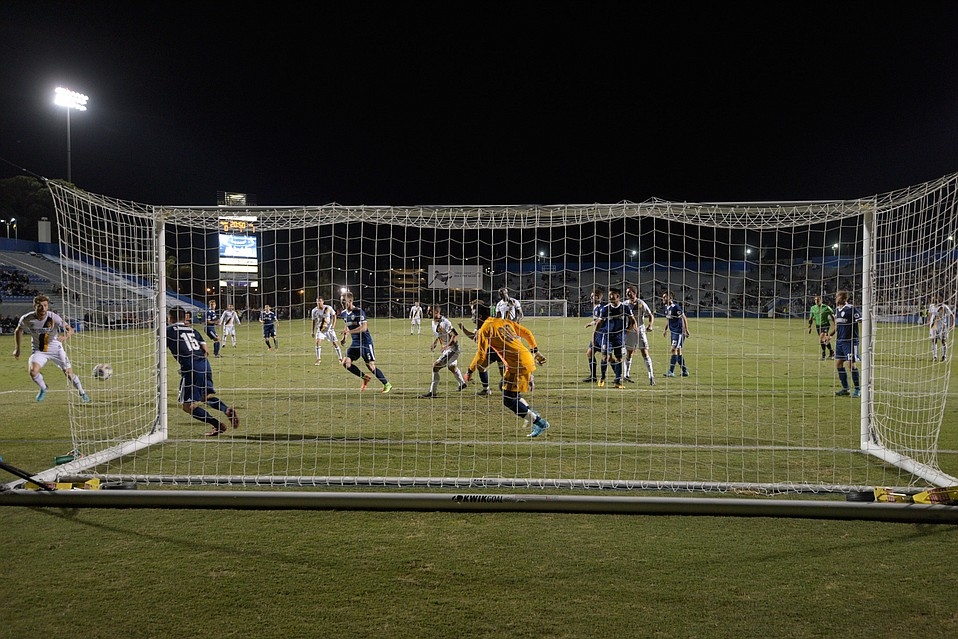 The L.A. Galaxy battle against Fresno FC at Harder Stadium