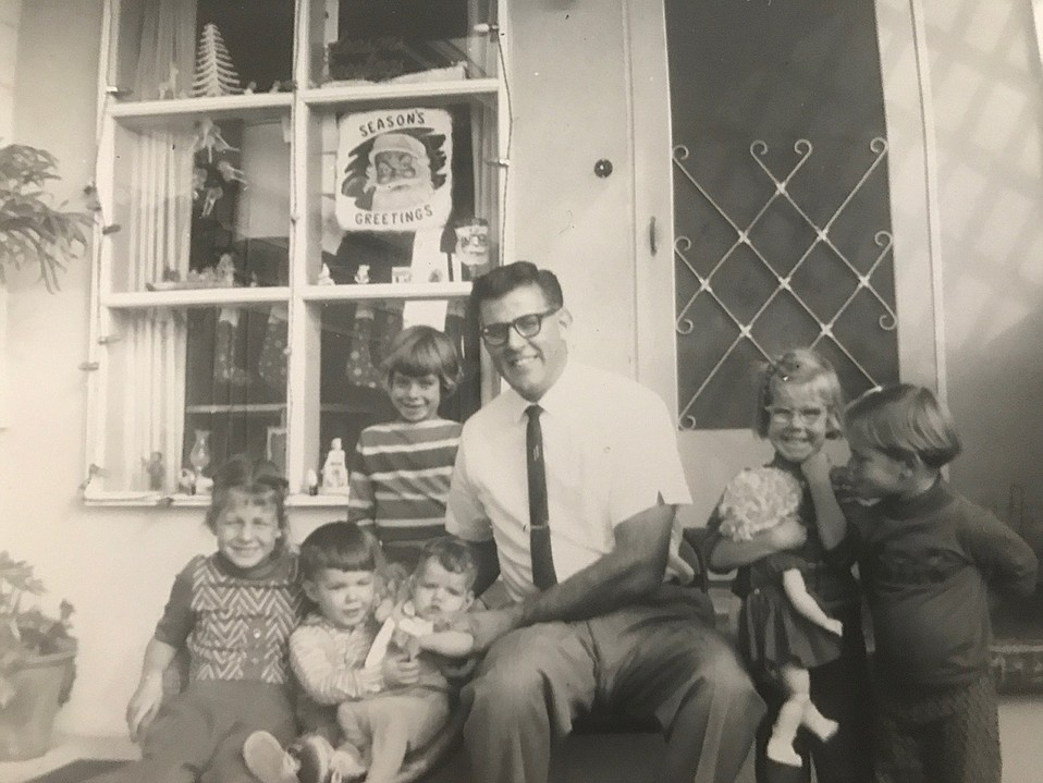 A family man and music lover, George McClintock raised his children — seen here in 1962 and now known as Kathleen McClintock Stimson, DDS; Diana McClintock; Darlene Reynolds; Cynthia Hagon; Mark McClintock, and Norma Howell — around the musicians who played at his club, the Spigot.