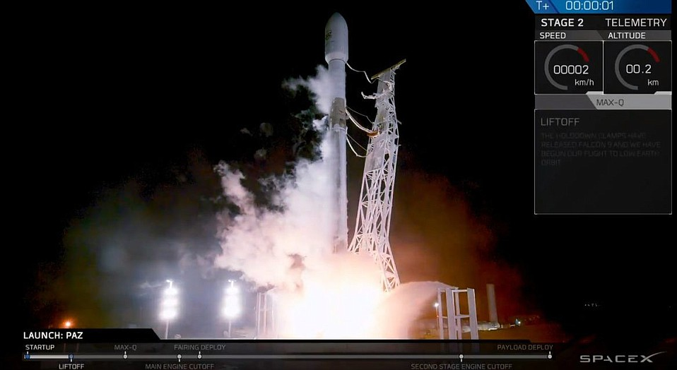 SpaceX launches the Spanish 'Paz' satellite and two internet probes from Vandenberg Air Force Base on February 22, 2018.