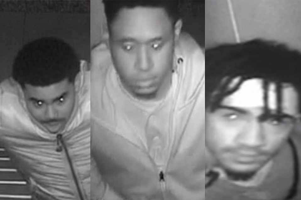 Three suspects caught on video in a Camino Del Sur apartment stairwell