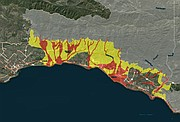 """Areas designated by the county as at-risk for debris flows and flooding, with red areas at """"extreme risk"""" and yellow areas at """"high risk."""""""