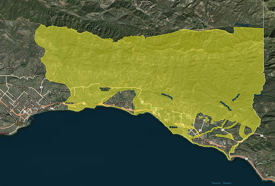 """Stretching from Montecito east to the county line, the new """"Recommended Evacuation Warning"""" went into effect on Wednesday morning ahead of the storm expected to arrive on Thursday."""