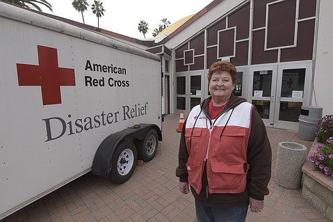 Patti Shiflet with the American Red Cross shelter at Earl Warren Showgrounds