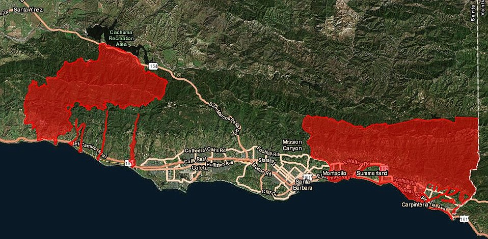 Evacuation map for March 1, 2018, shows all areas below Sherpa, Whittier, and Thomas fires are now under a mandatory evac order for debris flow potential in the early morning of March 2.