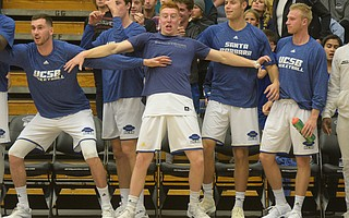 Gauchos failing to contain their excitement on their 86-61 victory over Cal Poly at the Thunderdome last Saturday