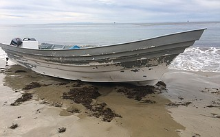 Panga boat found at Arroyo Quemada beach on March 7, 2018.
