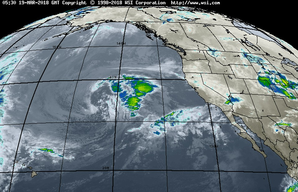 Pacific satellite imagery of the storm expected to impact Santa Barbara County by Tuesday evening