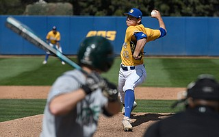 UCSB sophomore Shea Barry bears down on the mound against Sacramento State.
