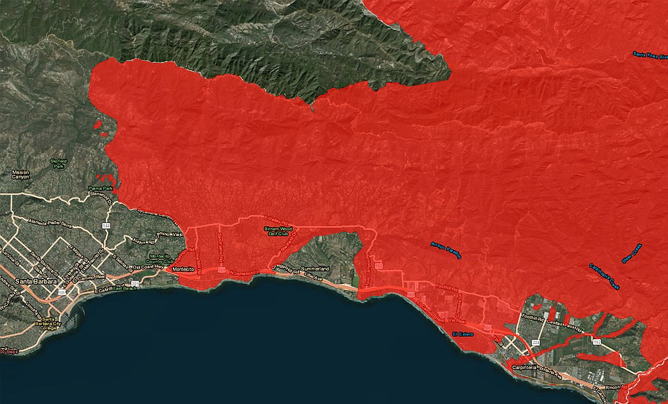 Mandatory Evacuation Called for Fire Zones in Santa Barbara County