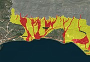 The current debris flow map shows likely mud-flood zones in red and impacted areas in yellow. Both are under mandatory evacuation order as of noon on March 20.