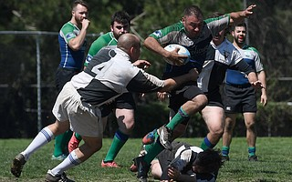 Playing without helmets or pads, ruggers put their arms into tackling, as demonstrated in the Santa Barbara Grunion match last Saturday.