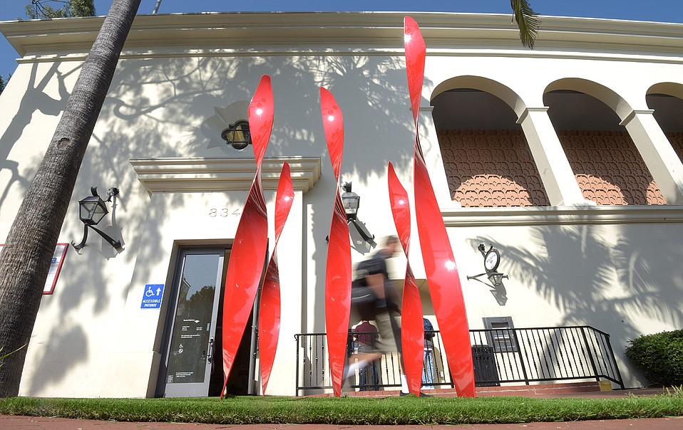 "Artist Pattie Porter Firestone's sculpture ""Leaves of Grass"" is at the corner of State and Canon Perdido streets."