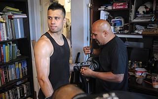 Santa Barbara fighter Francisco Santana (left) training