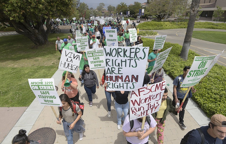 AFSCME 3299 workers striking on the UCSB campus