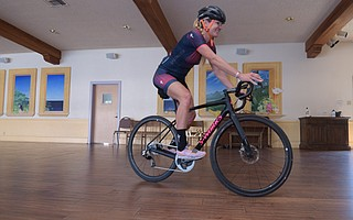 Professional cyclist Allison Tetrick shows Our Lady of Mount Carmel School how its done when she visited last month.
