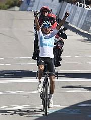 Egan Bernal (COL), Team Sky (GBR) takes the 2018 Amgen finish on Gibraltar Road in Santa Barbara