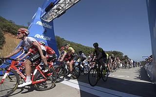 Riders cross the 2018 Amgen finish line on Gibraltar Road in Santa Barbara