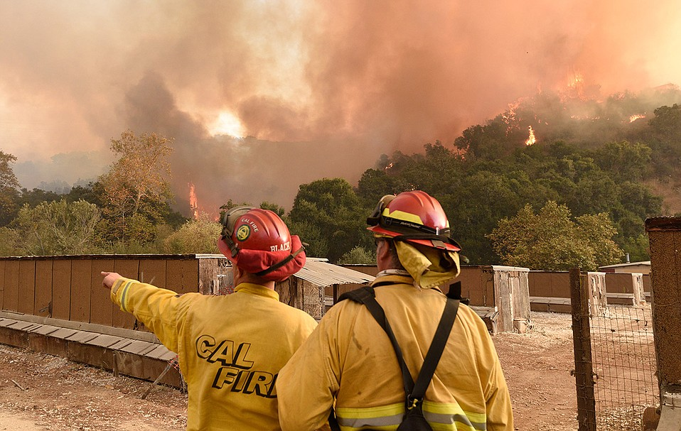 The Thomas Fire burns near Carpinteria on December 11, 2018.