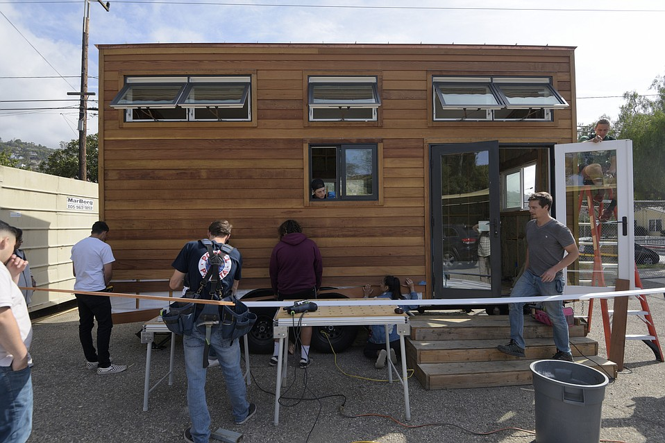 Santa Barbara High School students near completion of their tiny home project.