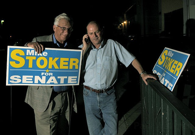 Seen here on the phone election night 2012 with former Santa Barbara city councilmember Frank Hotchkiss, Mike Stoke will be sworn in May 21 as head of EPA Region 9. A former county supervisor, Stoker ran for, and lost, the State Senate seat in 2012 and also State Assembly in 2010.