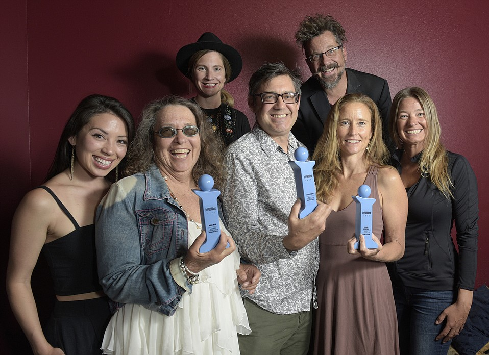 "Entangled Waters crew (L to R) Kaita Lepore Mrazek, Robin Bisio, Sarah York Rubin, Ethan Turpin, Jim Connolly, Lamara Heartwell Golovin, and Robin Elander at the 2018 Santa Barbara Independent ""Indy"" Dance Awards at Soho"