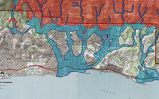 This topography-based map highlights with pinpoint precision the areas along Montecito creek basins that would likely be impacted by flooding and debris flows in a heavy storm. It proved remarkably accurate but was only briefly available to the public until it was replaced with the Highway 192 evacuation map.