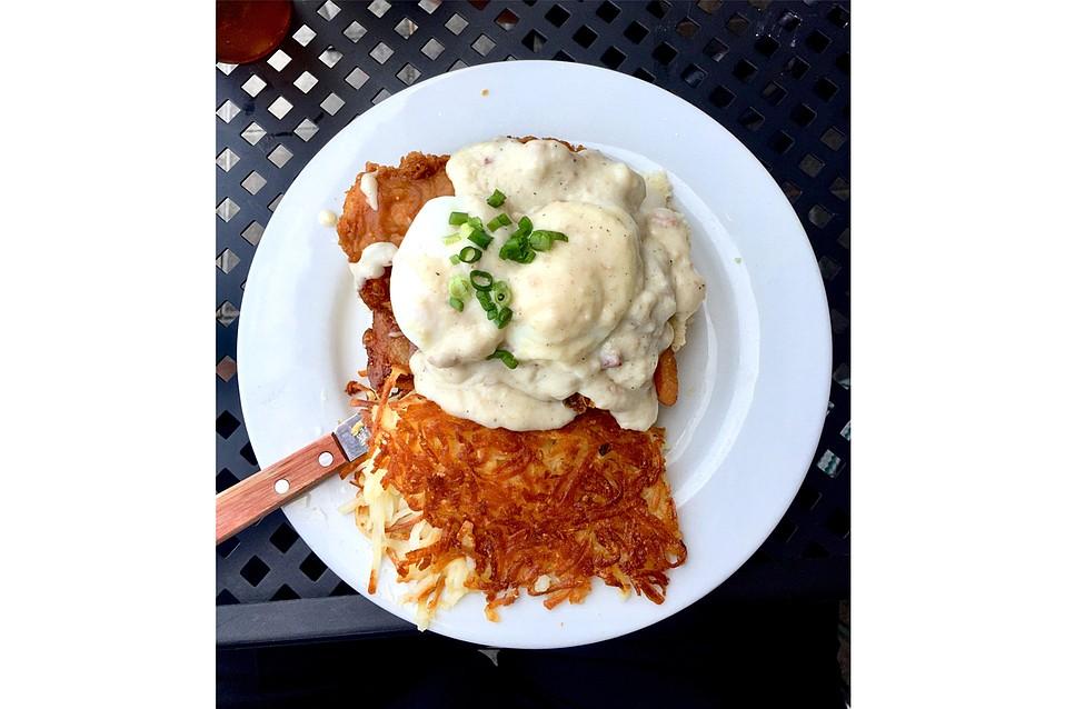 Fried Chicken Benedict at Cajun Kitchen