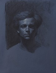 Jimmy Miracle, <em>Self-Portrait</em>, Charcoal and Chalk on Blue Paper, 25 by 19 inches.  Website: https://jimmymiracle.portfoliobox.net/  IG: @jimmy.miracle