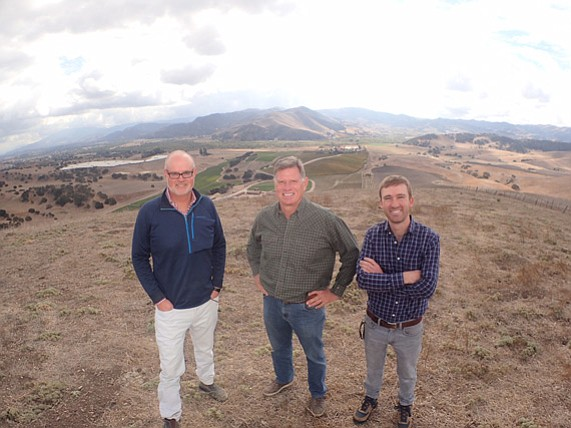 Blair Pence (center) stands atop his property on the eastern edge of the Sta. Rita Hills with general manager Stephen Janes (left) and winemaker John Faulkner (right).