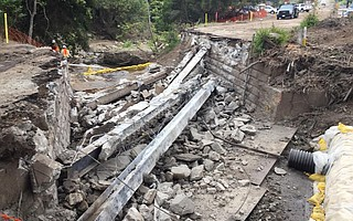 Arroyo Paredon Bridge was demolished Tuesday morning to begin work on a new bridge, which Caltrans anticipates completing this fall.