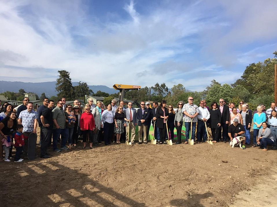 City officials, neighbors, kids, and dogs attended the groundbreaking for Old Town Goleta's new four-acre park at Hollister and Kellogg.