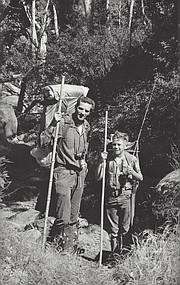 Jim Mills and his son, James E. Mills (age 10), were on one of their many backpacking trips when they 'bumped into' Dick Smith and Bob Easton along the south fork of the Sisquoc River in 1965.