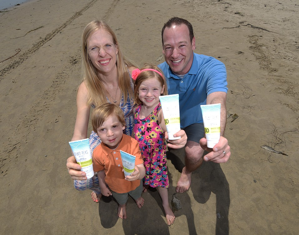 Two Peas Organics founders Amy and Jeff TK with daughter Addison and son Merrick at Arroyo Burro Beach