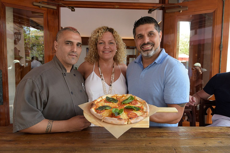 From left: Mizza's Head Chef David Raigoza; co-owner Kourtney Searls, and general manager, Tony Rincon, at 1112 State Street