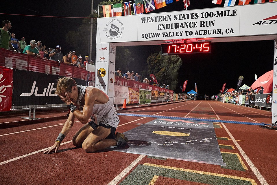 Kris Brown dropped to the track at Placer High after becoming the 10th runner to finish the 100-mile Western States race on June 23.