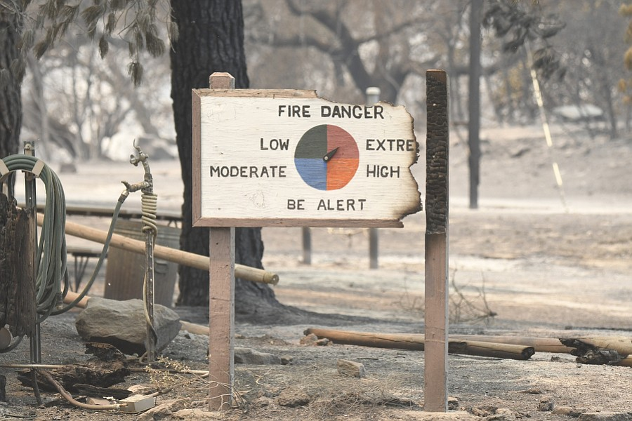 A fire danger sign at Rancho Alegre after the Whittier Fire burned through the foothills above Lake Cachuma on on Sunday, July 9, 2017.