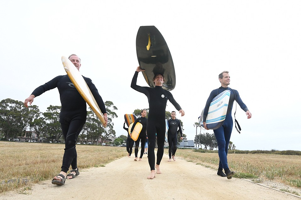 Reverend Scott Claassen's Spirituality and Surfing group goes out for the last session of the quarter