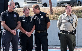 (L to R) Director at Santa Barbara County Office of Emergency Management Robert Lewin, Deputy Incident Commander Matt Ferris, Fire Chief Eric Peterson, and Sheriff Bill Brown at the Holiday Fire Press Conference (July 7, 2018)