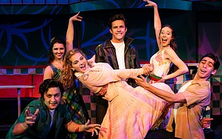 Time travel to the 1950s with the cast of Grease. Elvis Pagano (left), Chloé Grace Roberts, Tessa Miller, Ben Zevallos, Vivian Shay, and Chris Carmona.