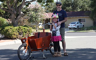 Eric and Anni Klein use their Bakfiets front-loading cargo bike to get around town.