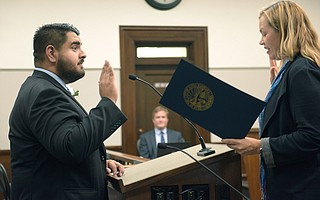 Oscar Gutierrez is sworn in to the Santa Barbara City Council.