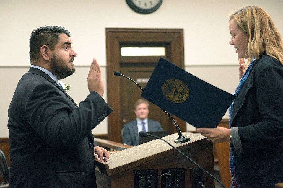 Oscar Gutierrez is sworn in to the Santa Barbara City Council.