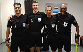 Frank Anderson (far left) is ready to take the field for the England-Colombia round-of-16 game at the World Cup. His fellow referees are Matt Conger of New Zealand, Mark Geiger of New Jersey, and Joe Fletcher of Canada. In the South Korea–Germany game, Anderson's offside call loomed large on TV.